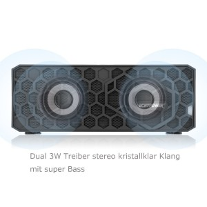 ECHTPower HoneyBox Stereo High-End Tragbarer Hi-Fi Wireless Bluetooth 4.0 Lautsprecher