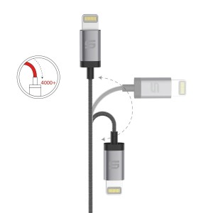 Syncwire Nylon Lightning zu USB Kabel. Das Kabel ist Apple MFi zertifiziert