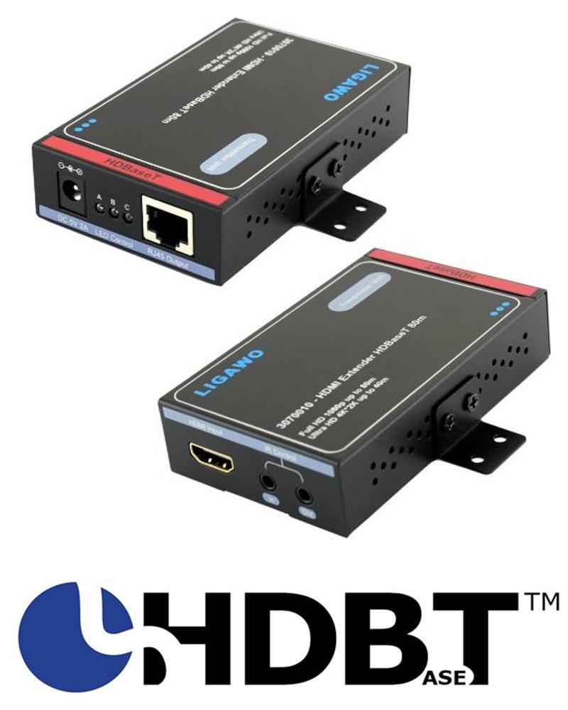 Ligawo 3070010 HDMI Extender mit HDBaseT Standard. Geeignet für Ultra HD 4K/60Hz