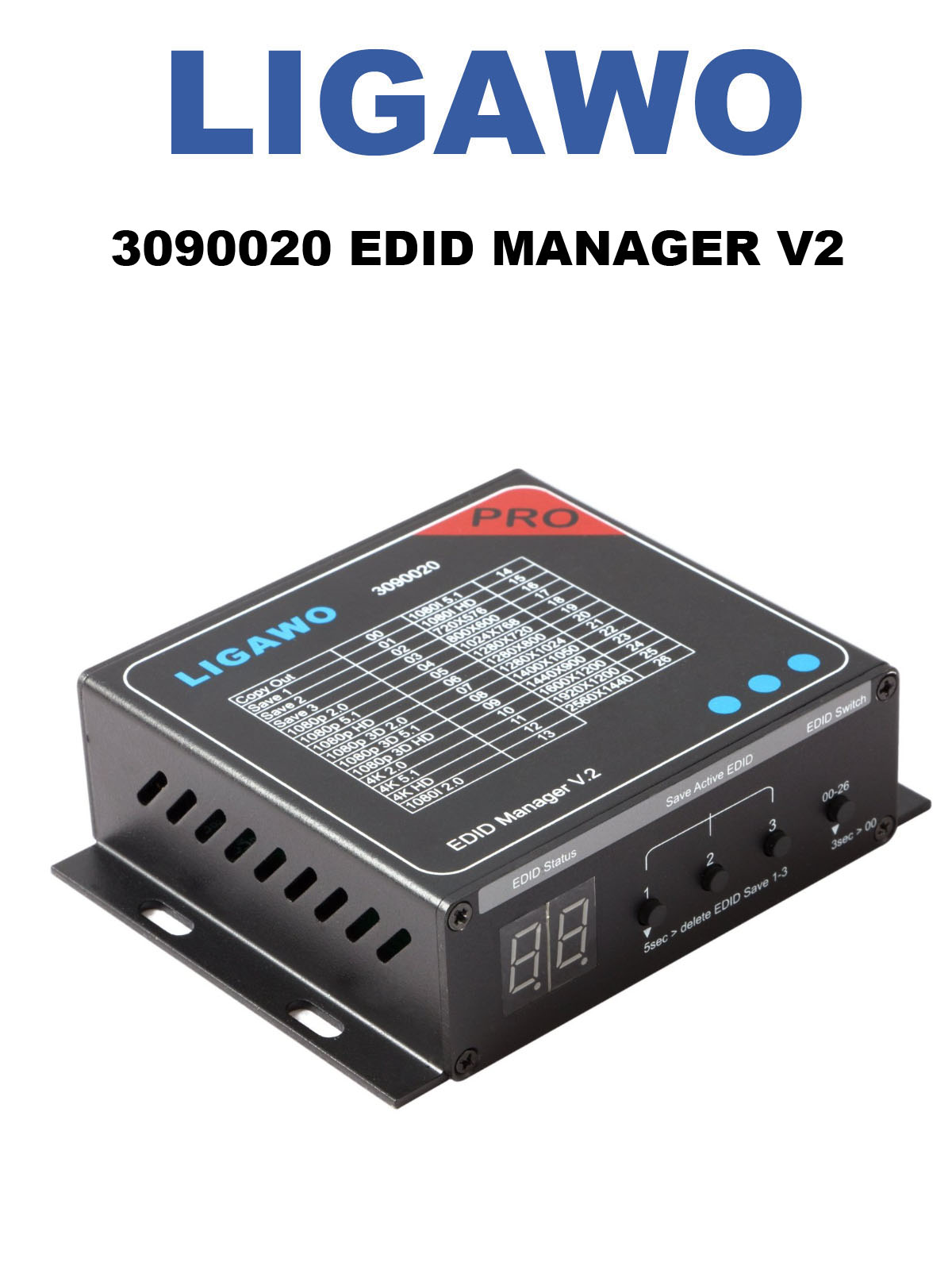 Ligawo 3090020 HDMI EDID Manager V2 | Audio / Video EDID Voreinstellungen bis 4Kx2K / 7.1 Mehrkanal | 3x EDID Save Optionen