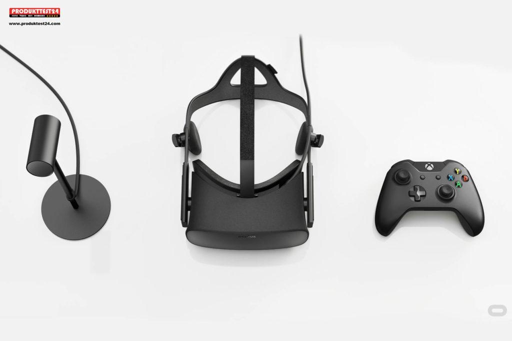 Oculus Rift mit Controller, Sensor und Fernbedienung