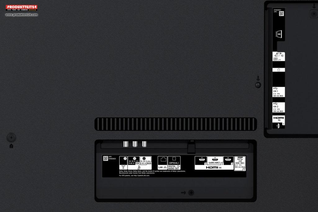 Sony KD-75XG9505 - Anschlüsse auf der Rückseite