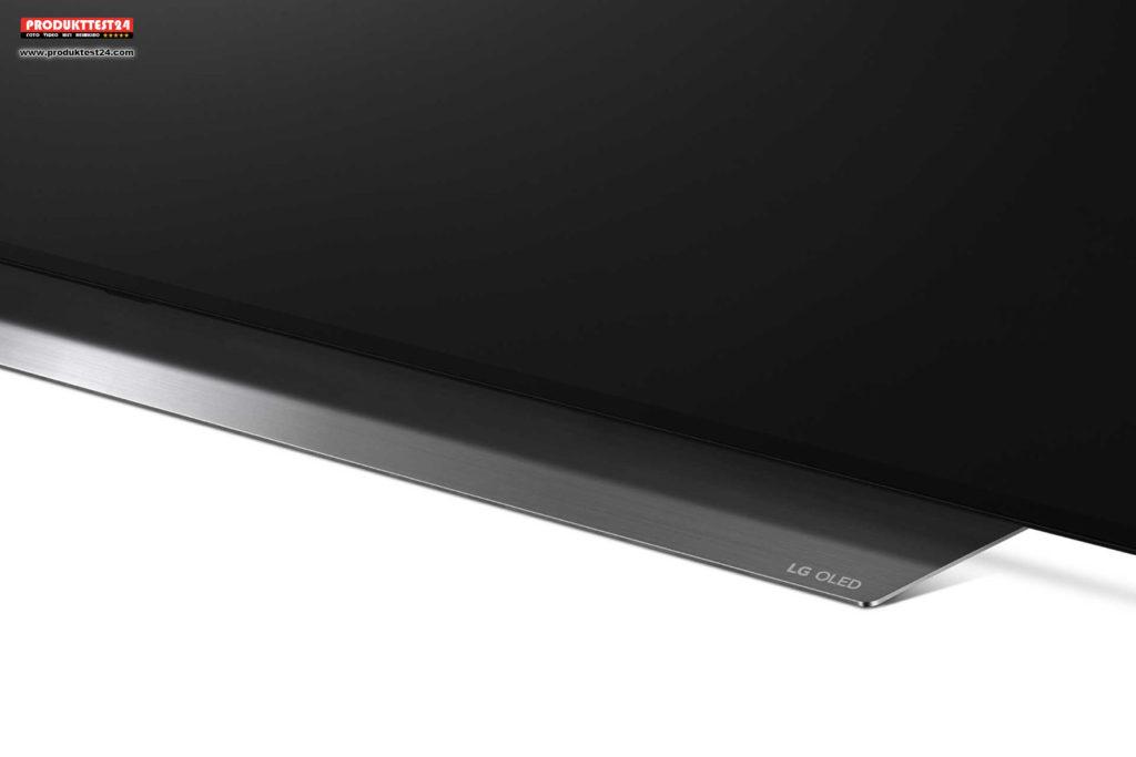 LG OLED55C9 - Der Aluminium Standfuß sorgt für einen sicheren Stand und für einen guten Sound