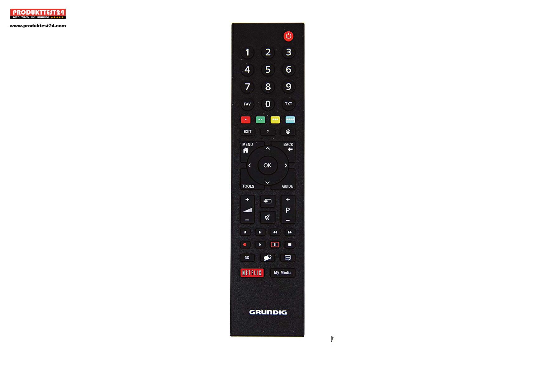 Die Grundig Fernbedienung mit extra Netflix Button