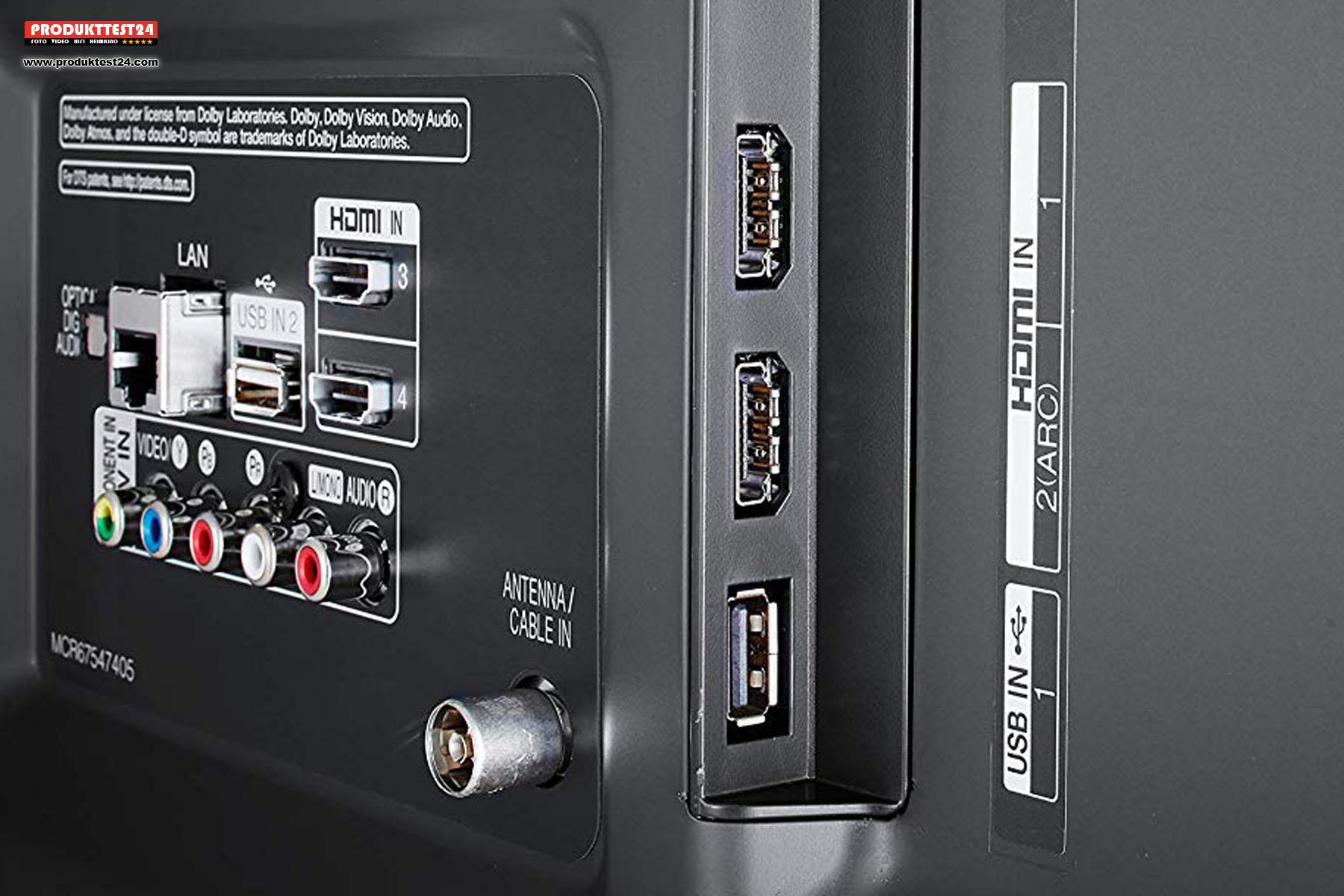 Anschlusspanel mit 3x HDMI, 2x USB und analogen Anschlüssen