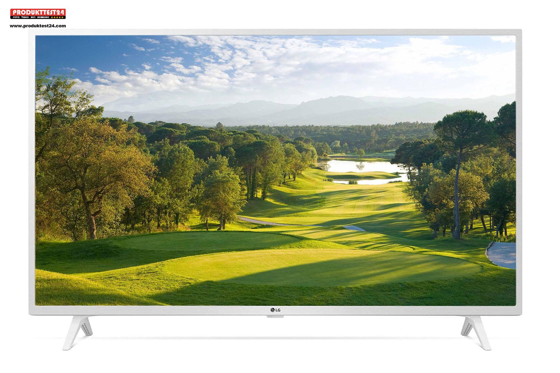 Der weiße 43 Zoll UHD 4K-Fernseher von LG