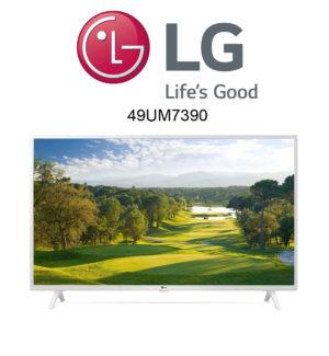 Der weiße LG 49UM7390 4K-Fernseher im Test