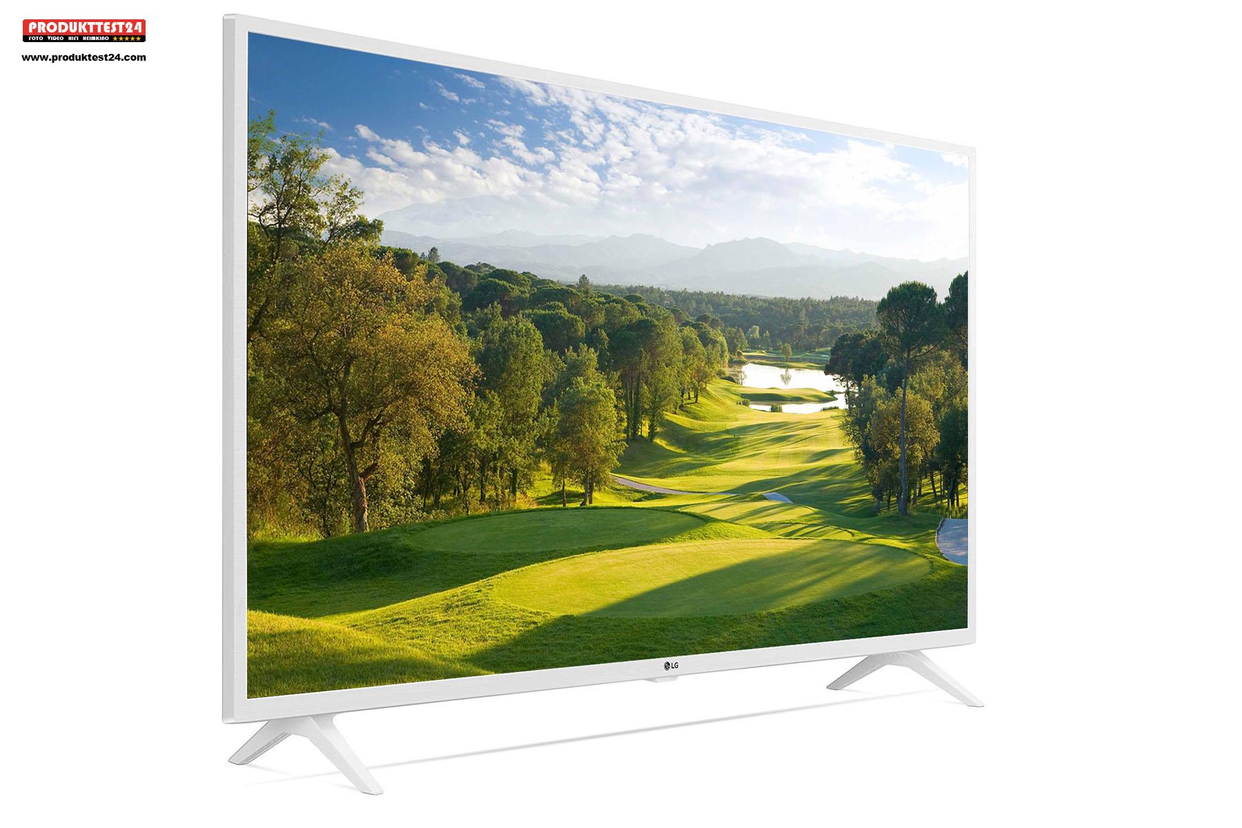 Der weiße LG 49UM7390 Ultra HD 4K-Fernseher