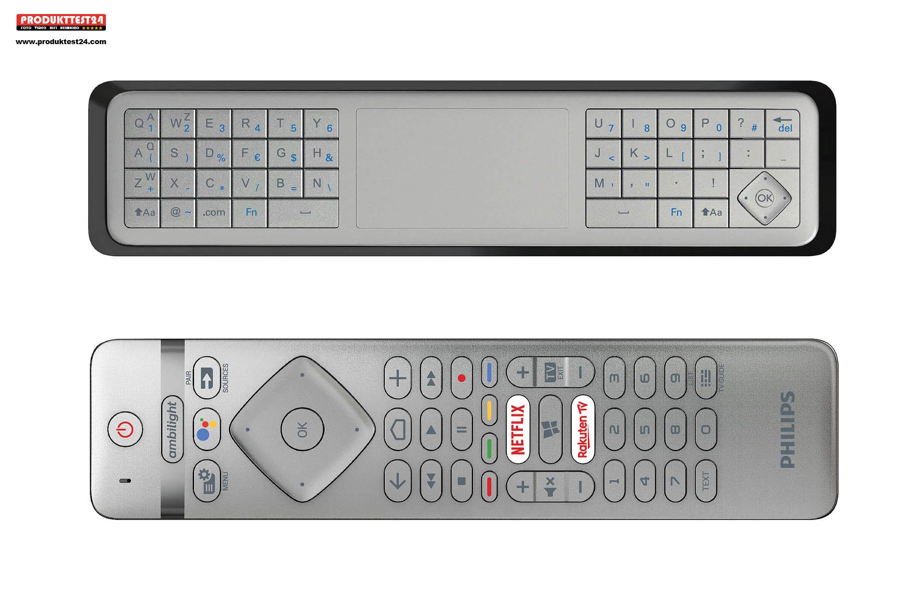 Die Philips Fernbedienung mit integrierter Tastatur, Touchpad und Mikrofon