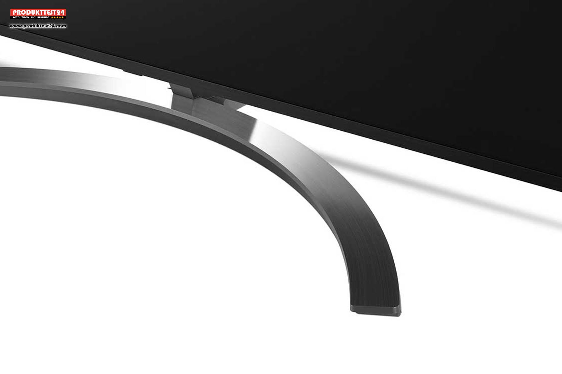 Gelungenes Design. Rahmen und Standfuß in hochwertiger Aluminiumoptik
