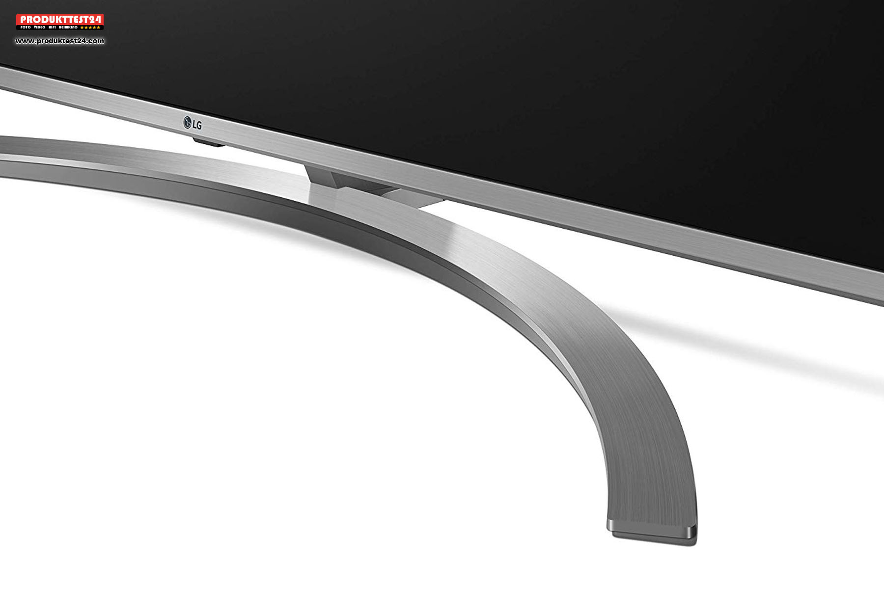 Der Rahmen sowie auch der Standfuß im schicken Aluminium Design