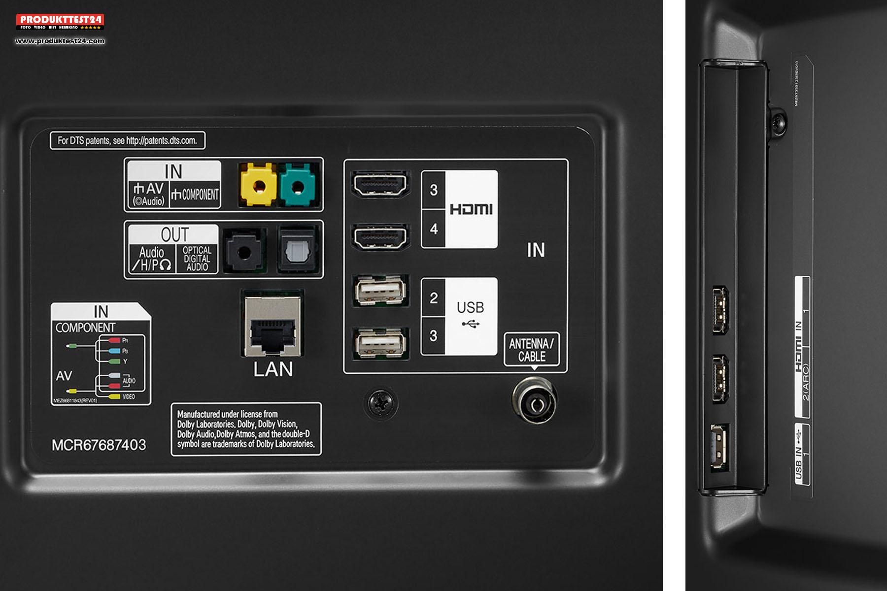 Anschlüsse des LG 86UM7600: 4x HDMI, 3x USB, 1x Optisch, 1x Kopfhörer, LAN, WLN, Bluetooth und TV-Empfang