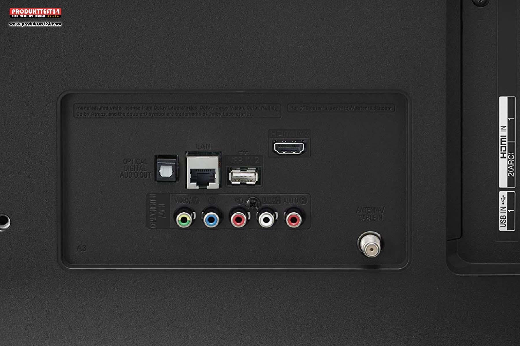 3x HDMI, 2x USB, 1x Optisch, 1x Analog AV, 1x LAN, 1x WLAN