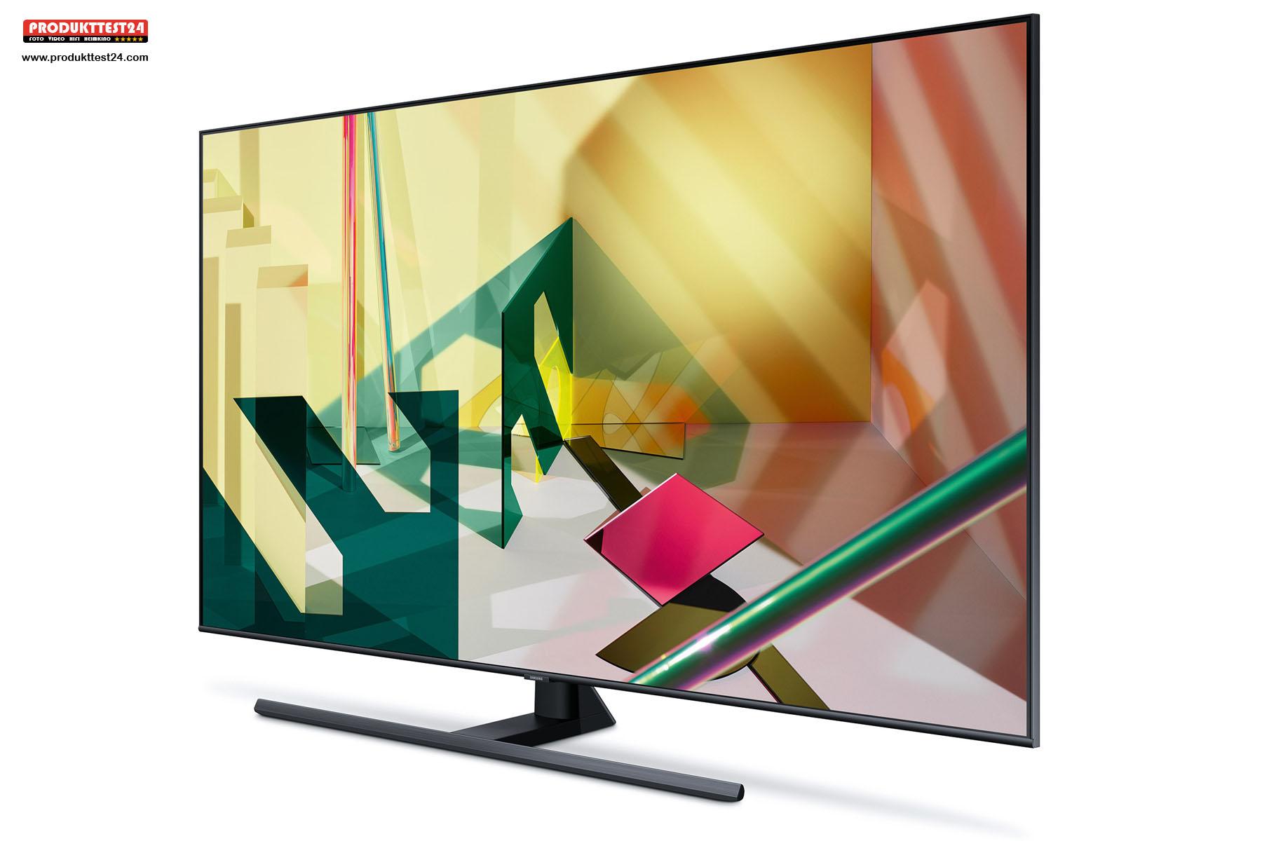 Der Samsung GQ55Q70T mit 55 Zoll Bilddiagonale, SmartTV, Sprachsteuerung und Twin Tuner