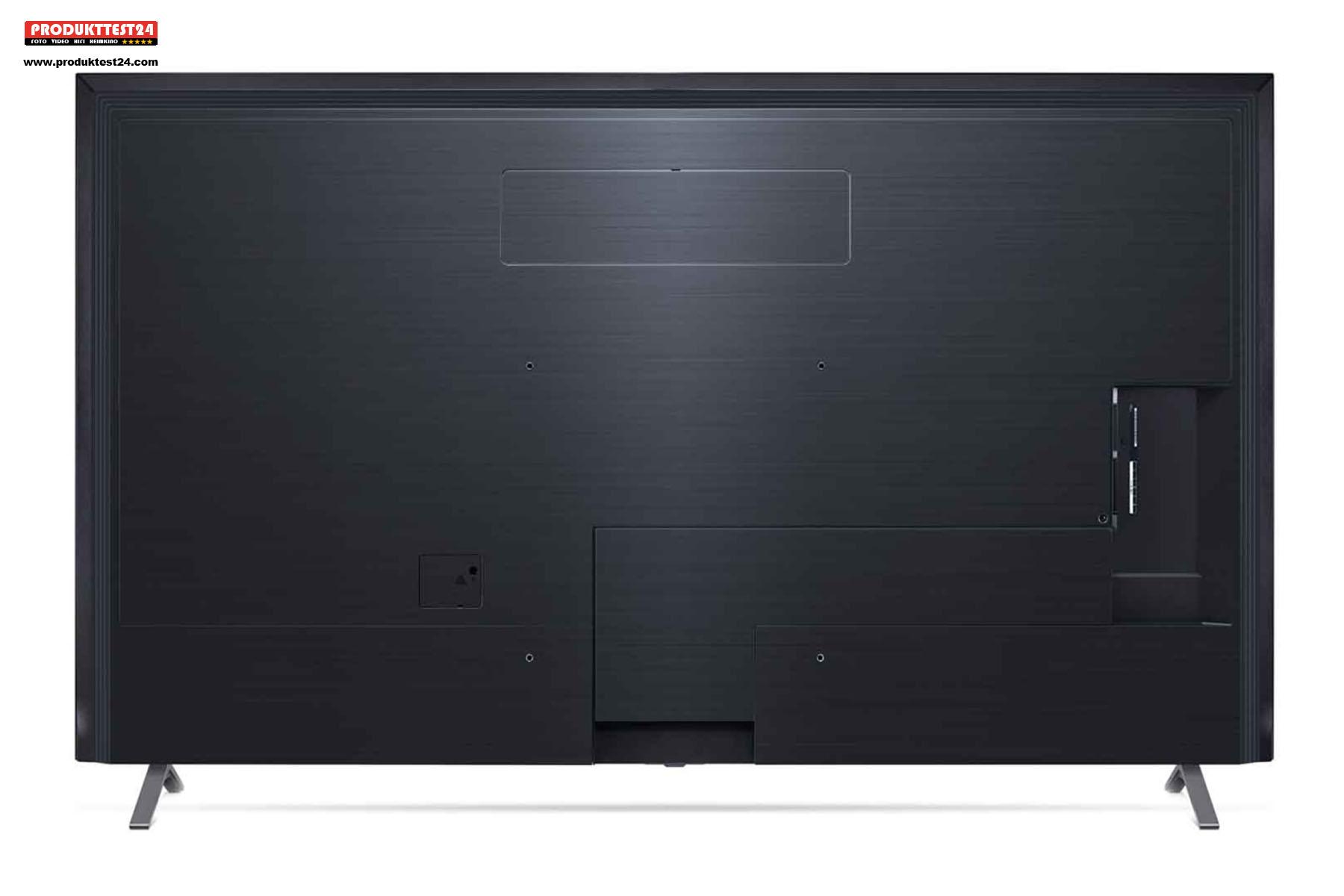 Die Rückseite ist schlicht gehalten., bietet aber Platz für viele Anschlüsse. 4x HDMI 2.1 und 3x USB Ports