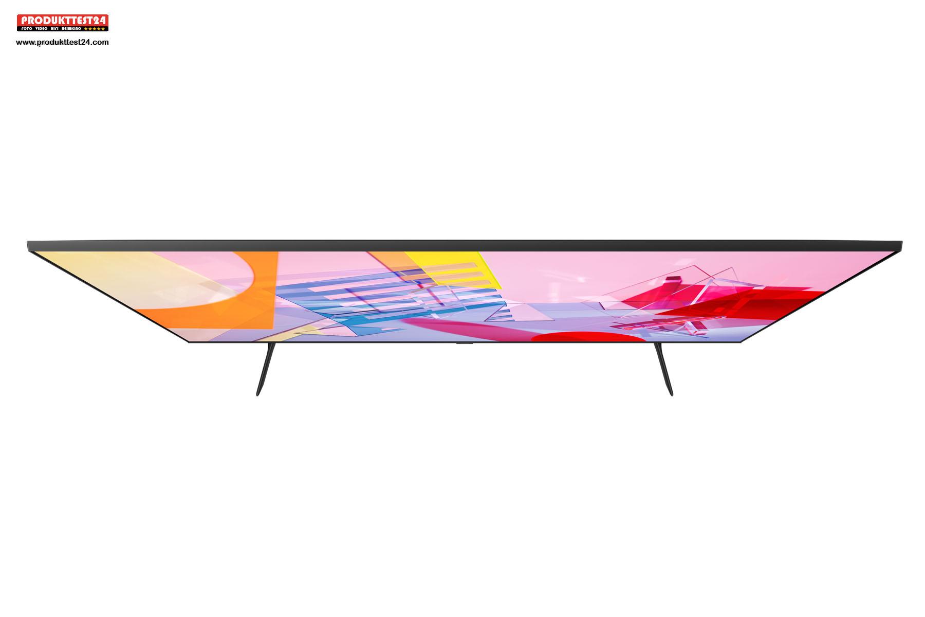 Super flaches Design. Der Samsung GQ43Q60T mit weniger als 6 cm im Durchmesser.