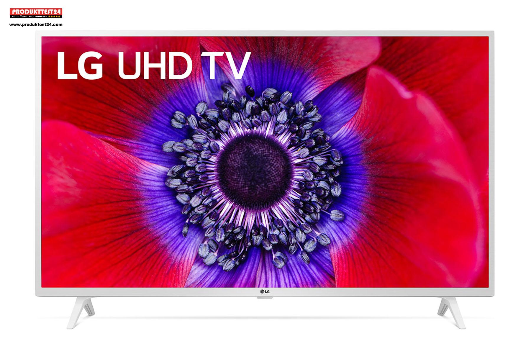 Der weiße LG 49UN73906LE UHD 4K-Fernseher