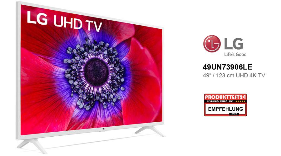Der weiße LG 49UN73906LE UHD 4K-Fernseher im Test