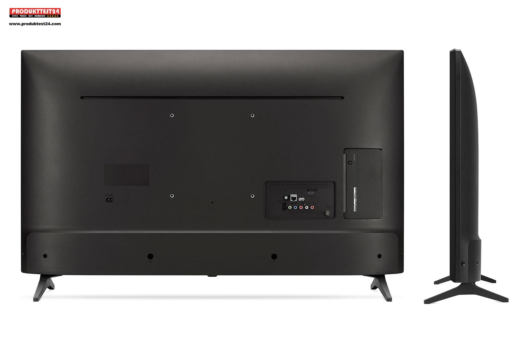 Der LG 43UM7050PLF besitzt ein schlichtes Kunststoffgehäuse
