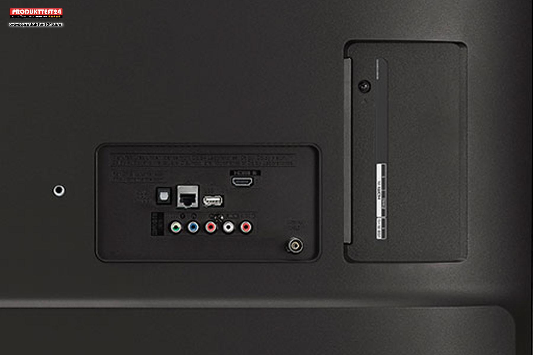 Die Anschlüsse des LG 43UM7050PLF - 3x HDMI- 2x USB - 1x Optisch - 1x analoger AV Anschluss.