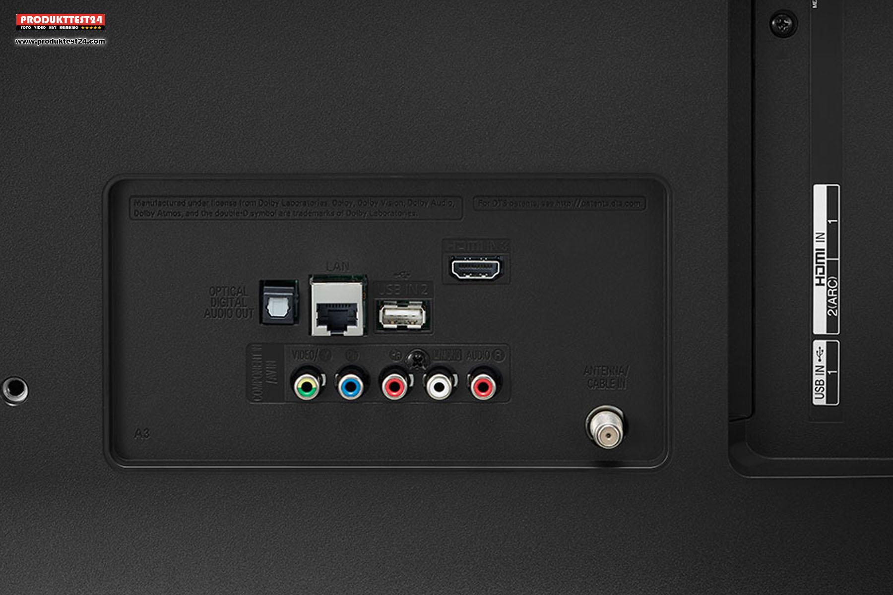 Ausreichend viele Anschlüsse. Der LG 49UN7100 besitzt 3x HDMI, 2x USB und je einen optischen und analogen Ausgang.