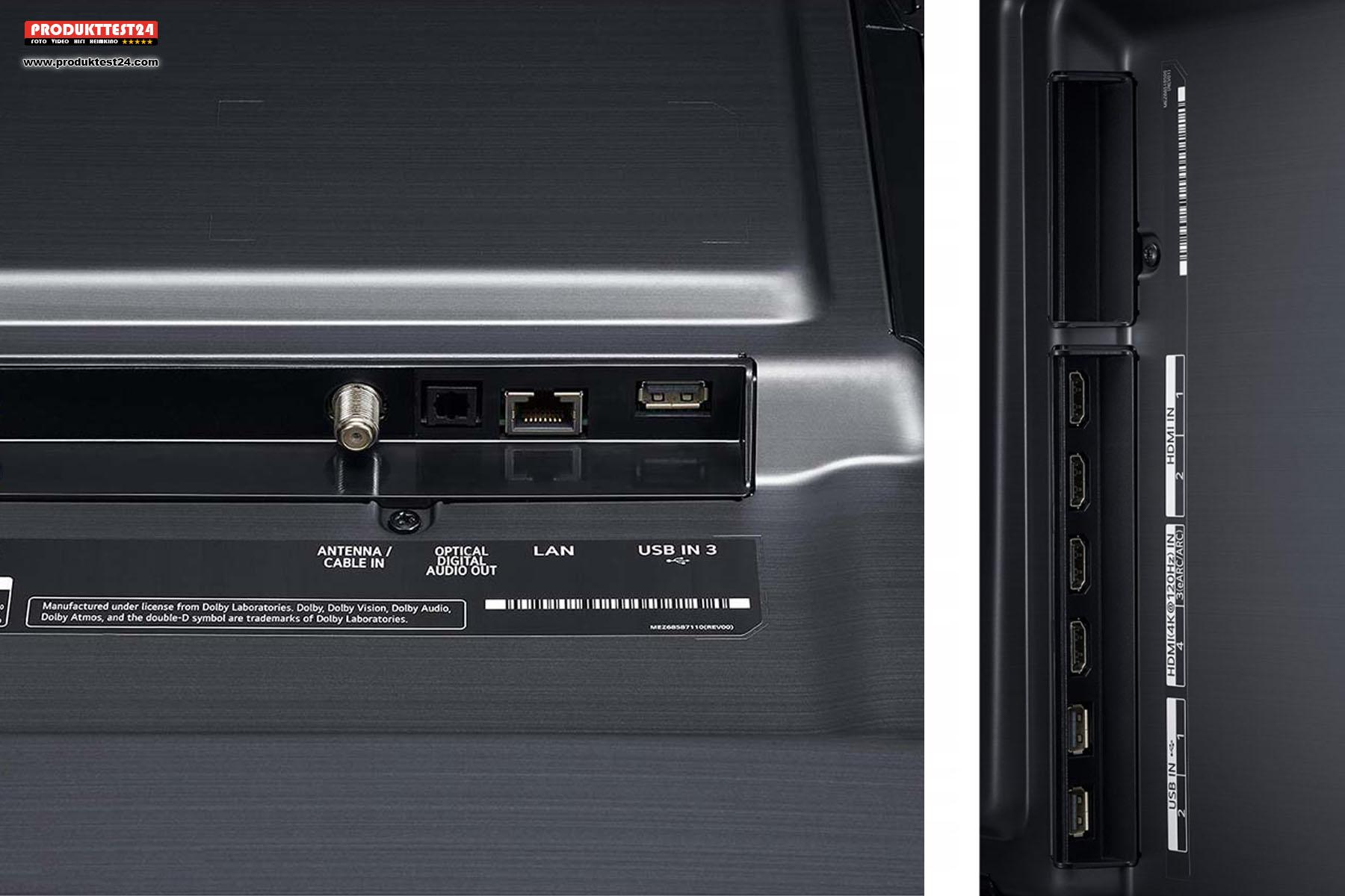Anschlüsse des 86NANO906NA: 2x HDMI 2.1 - 2x HDMI 2.0 - 3x USB - 1x Optisch TOSLINK - 1x LAN - 1x Kopfhörer 3,5mm Klinke - 1x Antenne