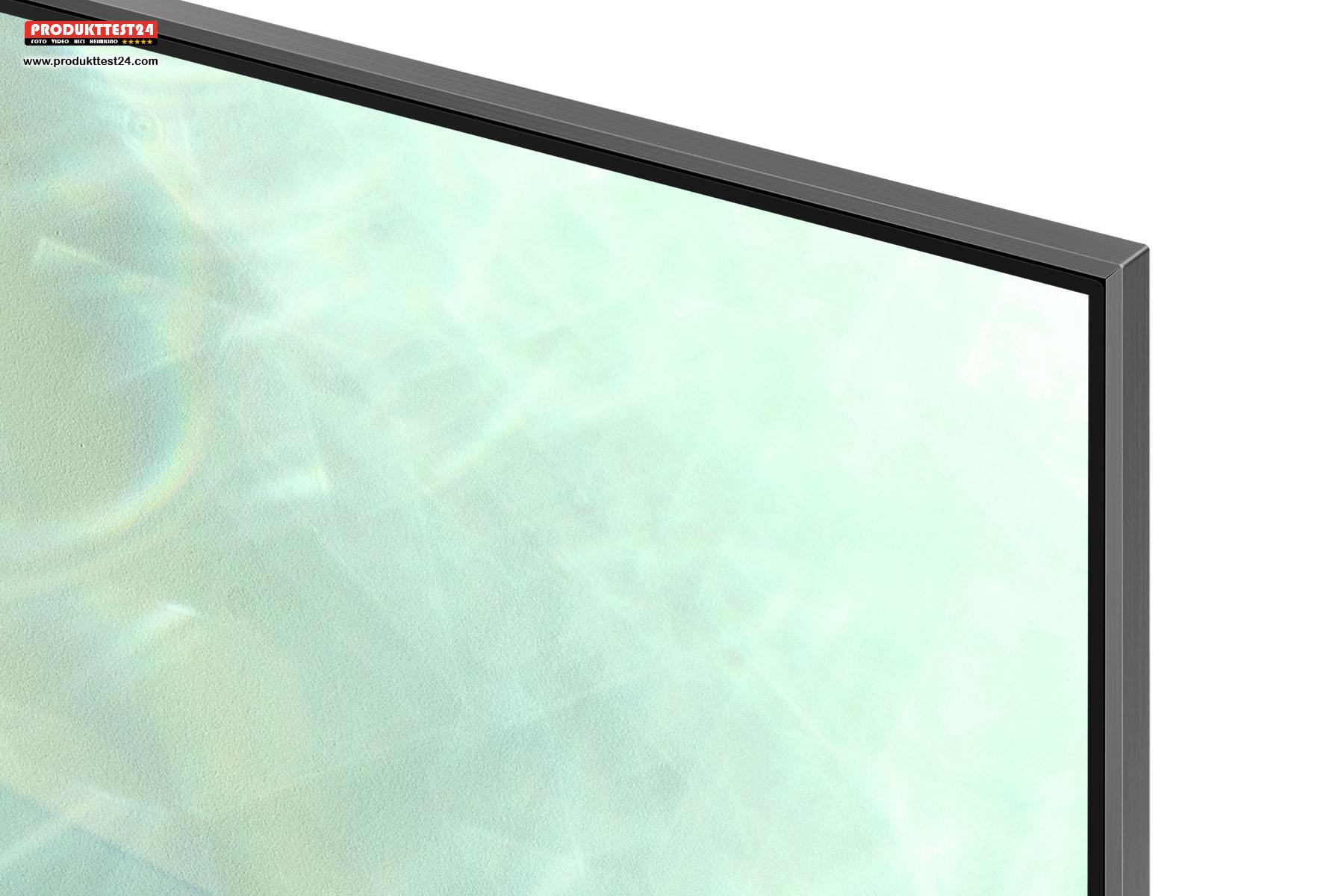 Der schmale Alu-Rahmen des Samsung GQ85Q80T.