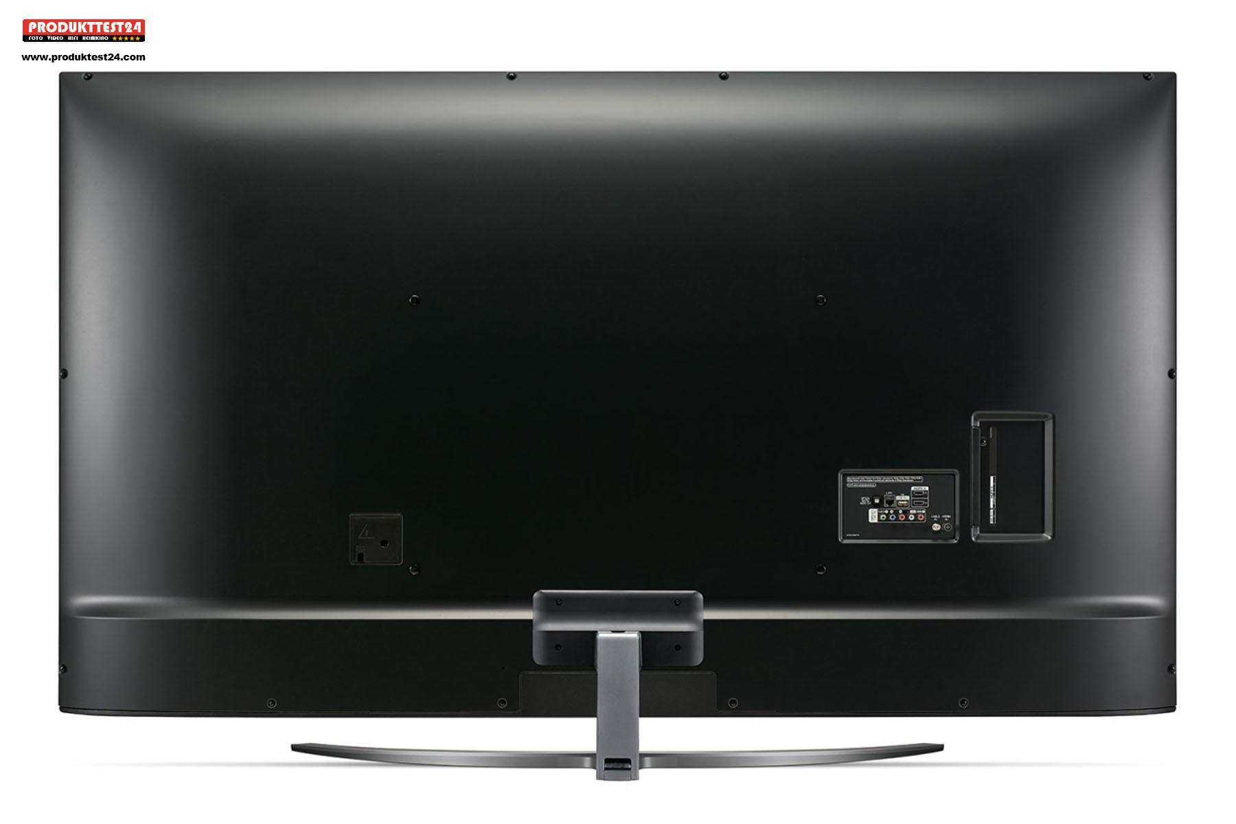 Die Rückseite des LG 75UN8100 ist schlicht gehalten.