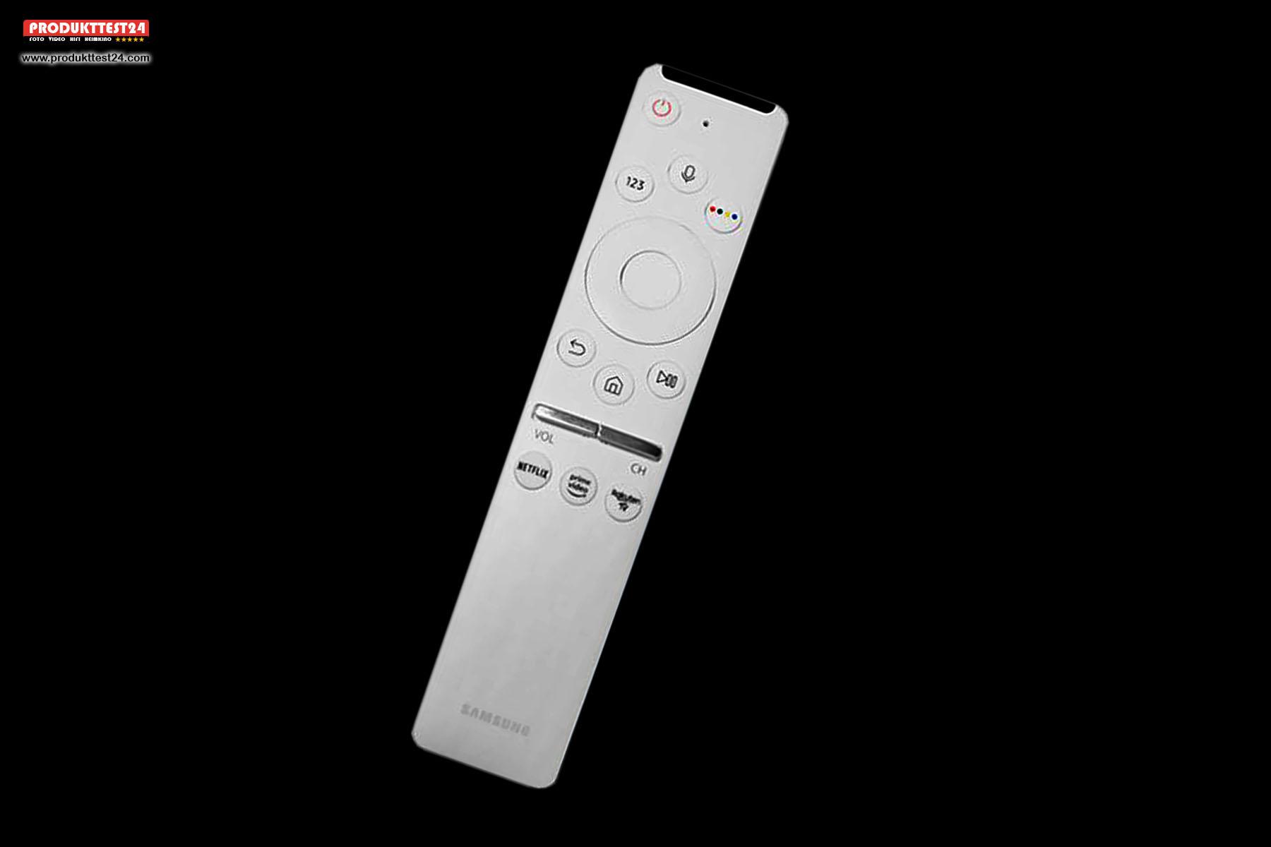 Die weiße Smart Remote Fernbedienung zum Samsung GQ55LS03T The Frame