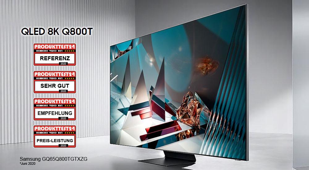 Der Samsung GQ65Q800T - QLED 8K-Fernseher mit einem 65 Zoll großem Display.
