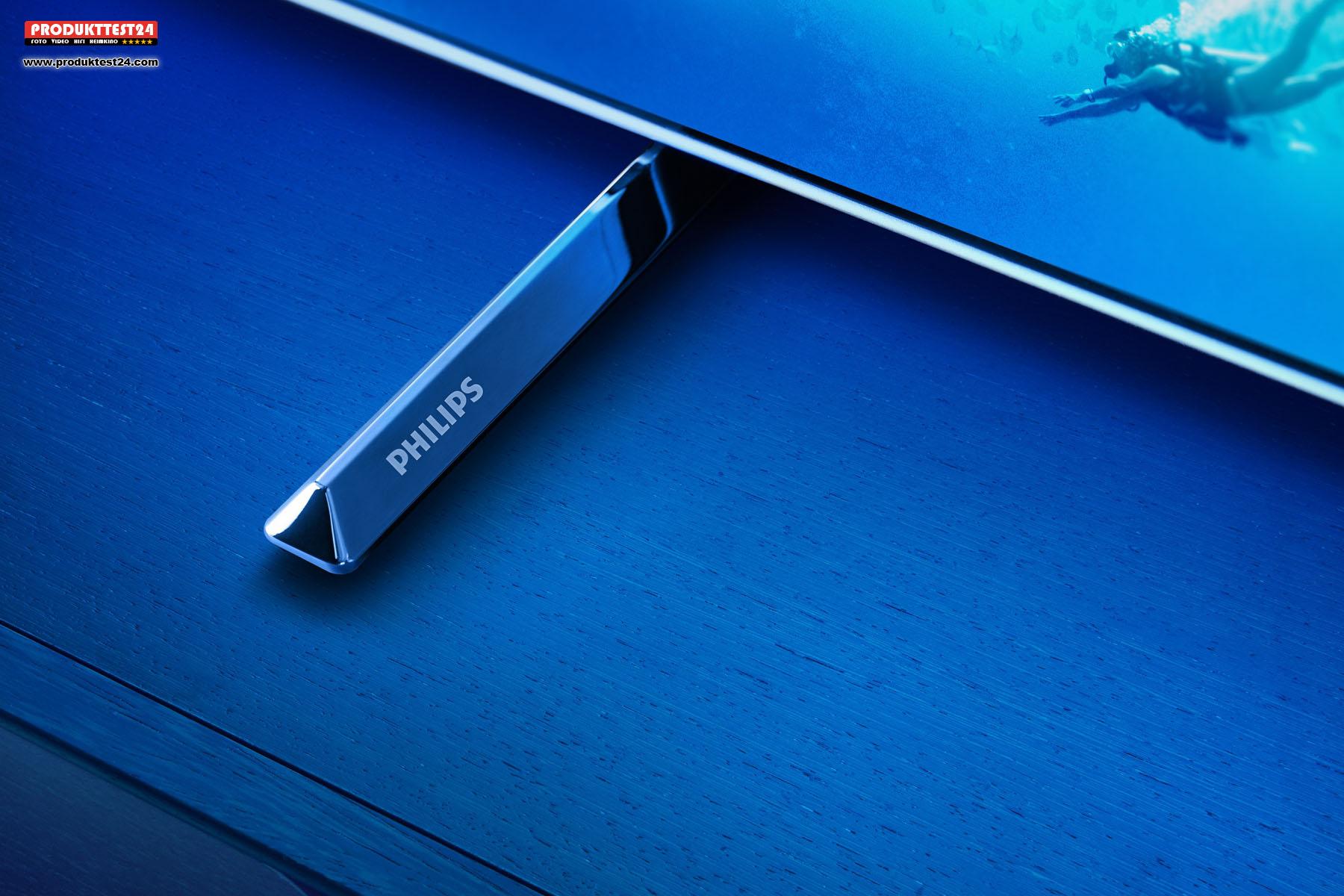 Edles Design. Rahmen und Standfuß des Philips 65OLED805/12 aus echtem Metall.