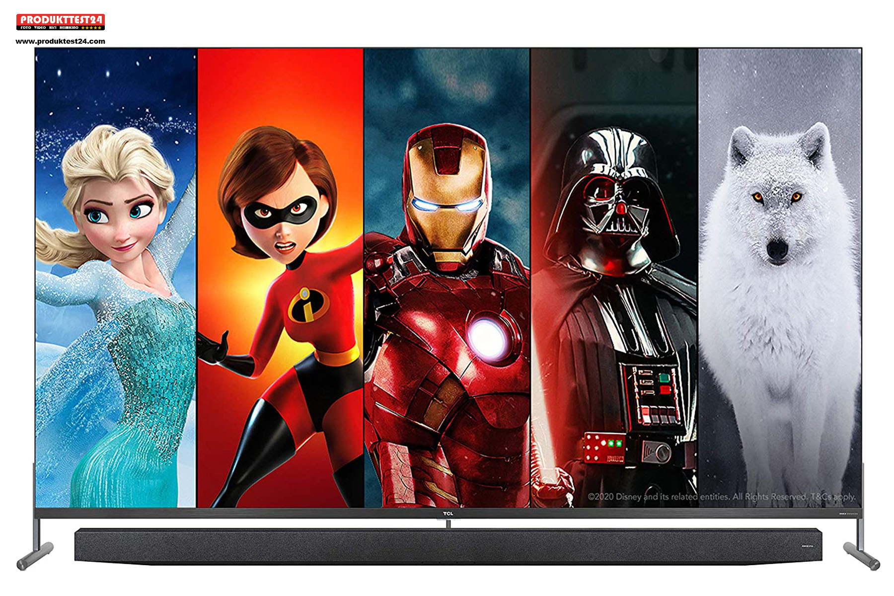 Der TCL 75X915 8K QLED Fernseher mit Android TV, Google Sprachsteuerung und Kamera.