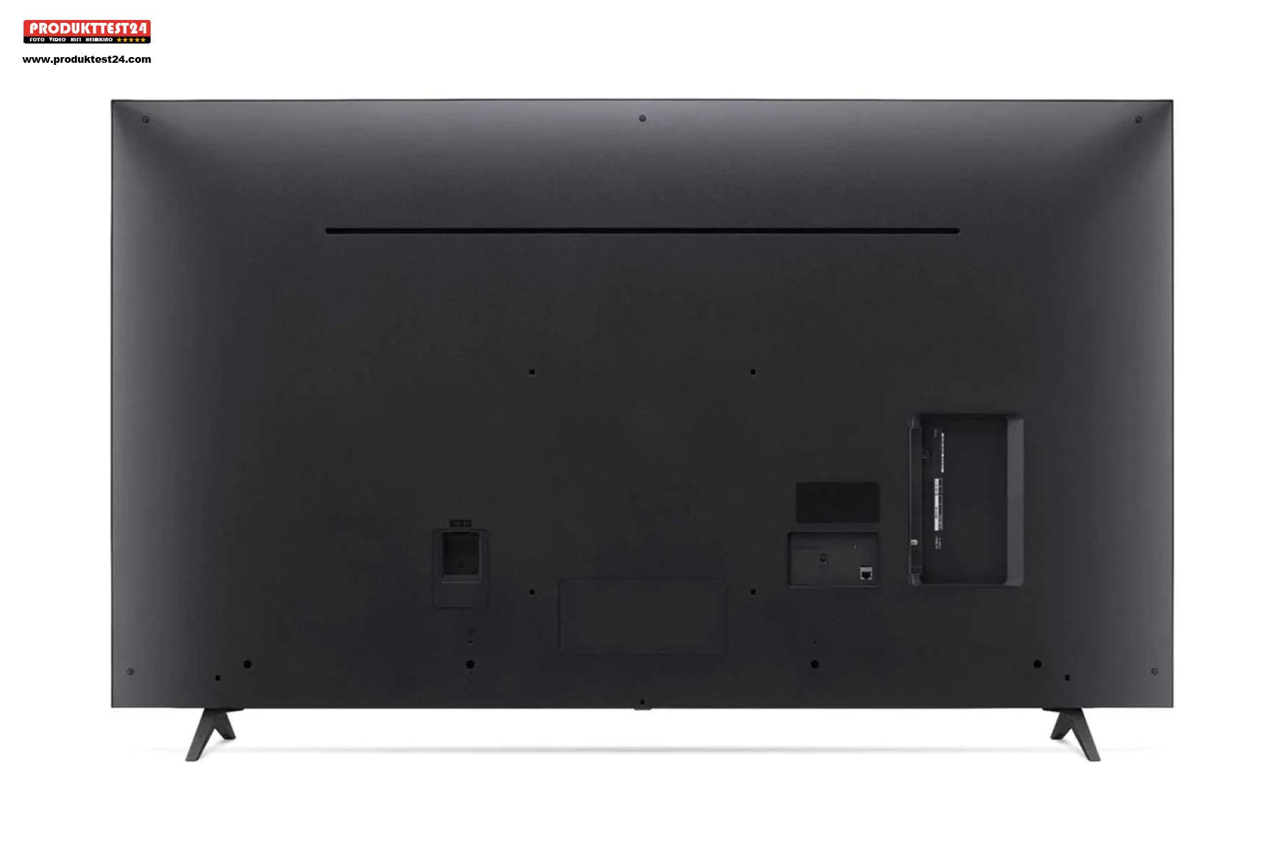 Die Rückseite des LG 55UP7709LB ist schlicht gehalten. Die meisten Anschlüsse sind von der Seite zugänglich.