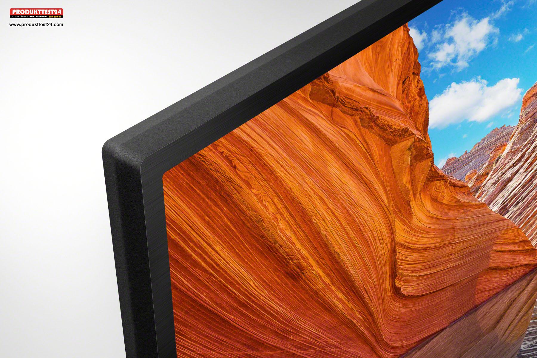 Das Display schließt mit dem Rahmen bündig ab. Der Sony KD-50X80J