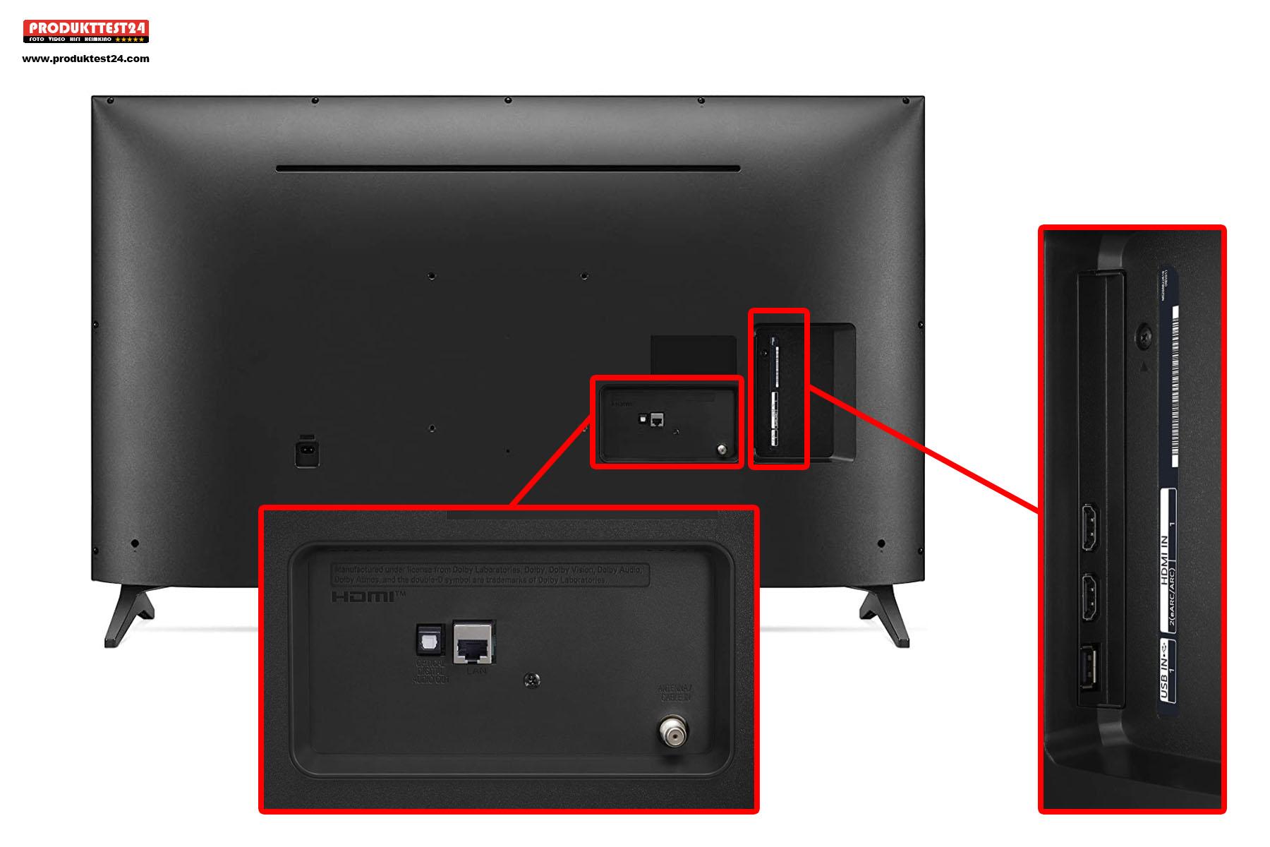 Der LG 43UP75009LF besitzt nur wenig Anschlussmöglichkeiten