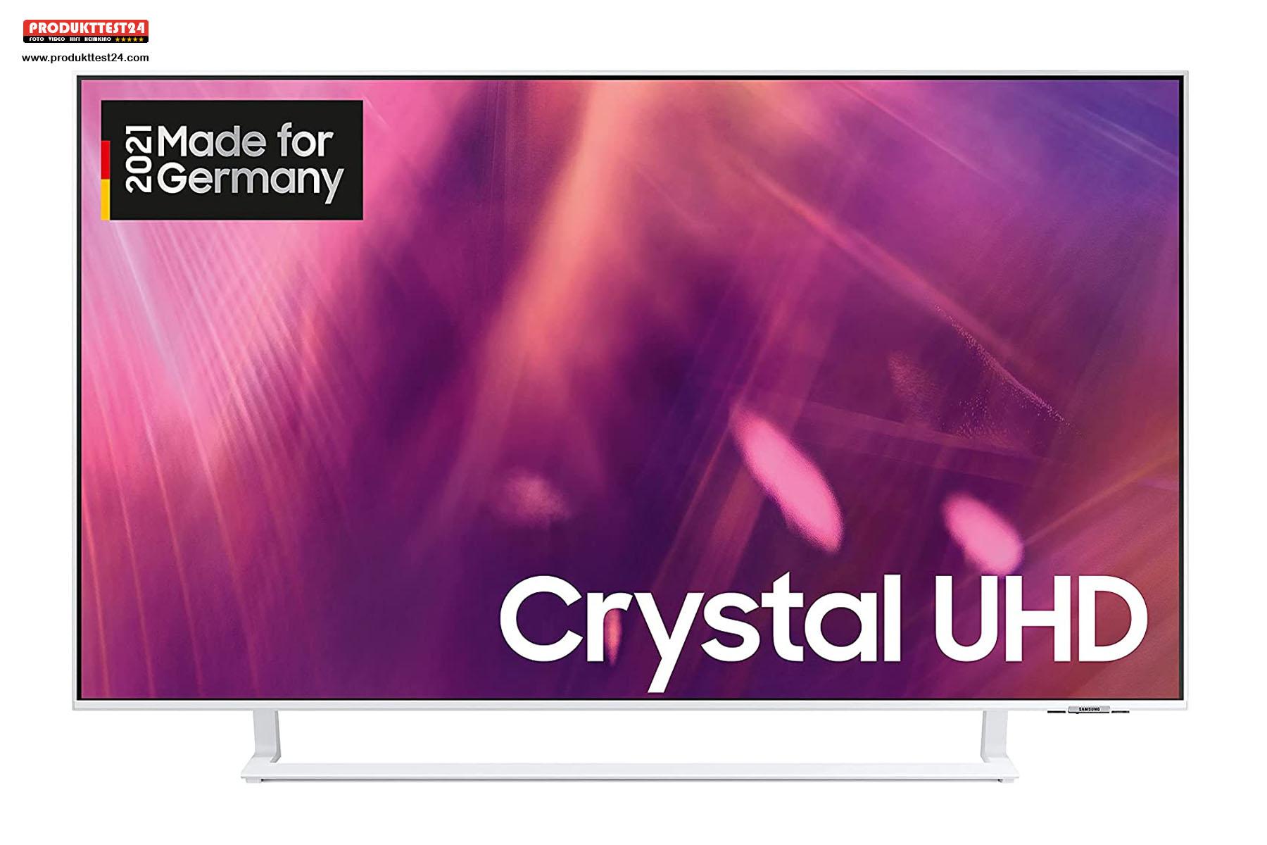 Der weiße Samsung Crystal UHD Fernseher