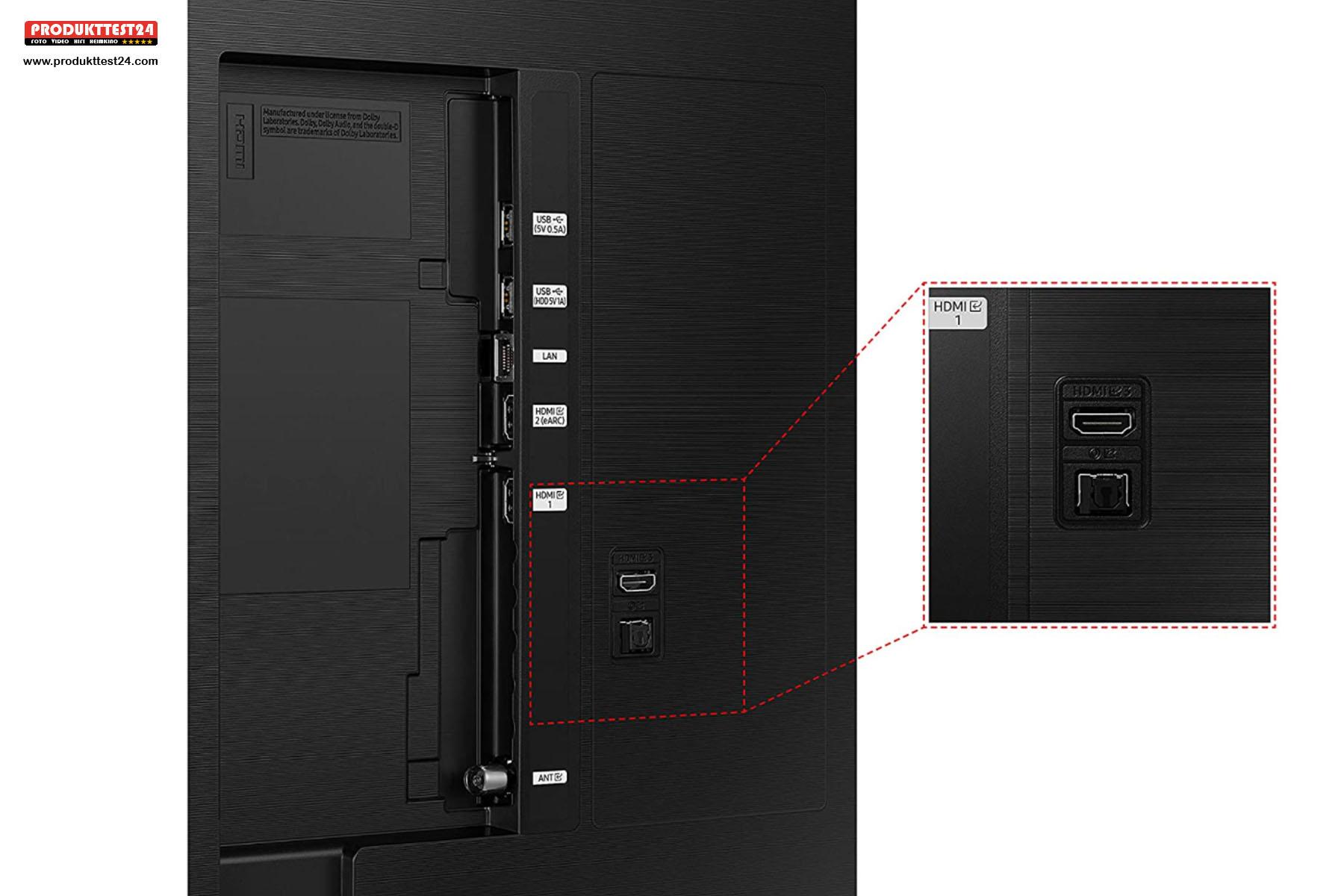 Anschlüsse auf der Rückseite des Samsung GU50AU8079