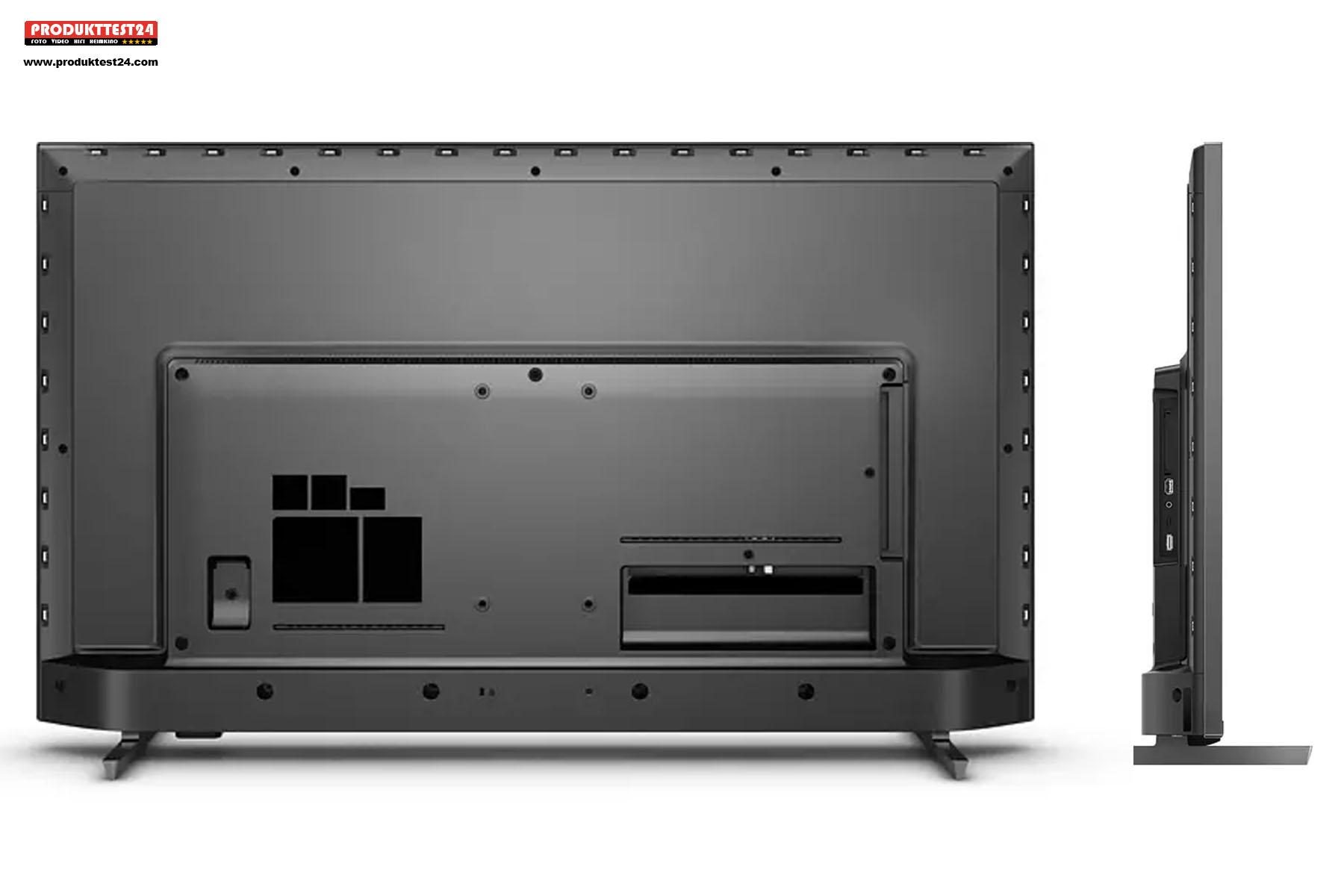 Die Anschlüsse des Philips 55PUS7906/12 sind seitlich zugänglich. Das hilft bei der Wandmontage