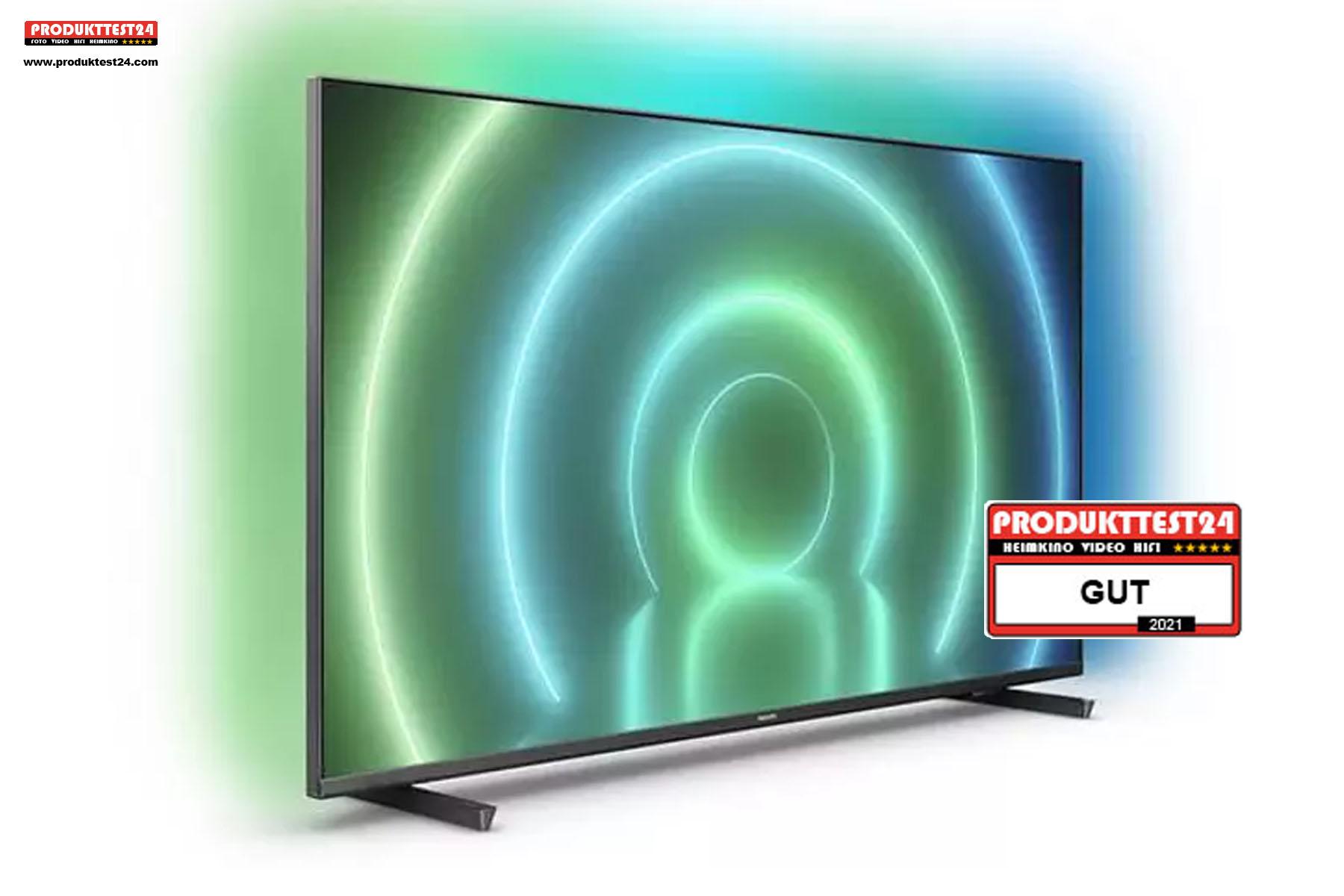 Philips 70PUS7906/12 Ultra HD 4K-Fernseher mit Ambilight, Android 10 und Triple Tuner.