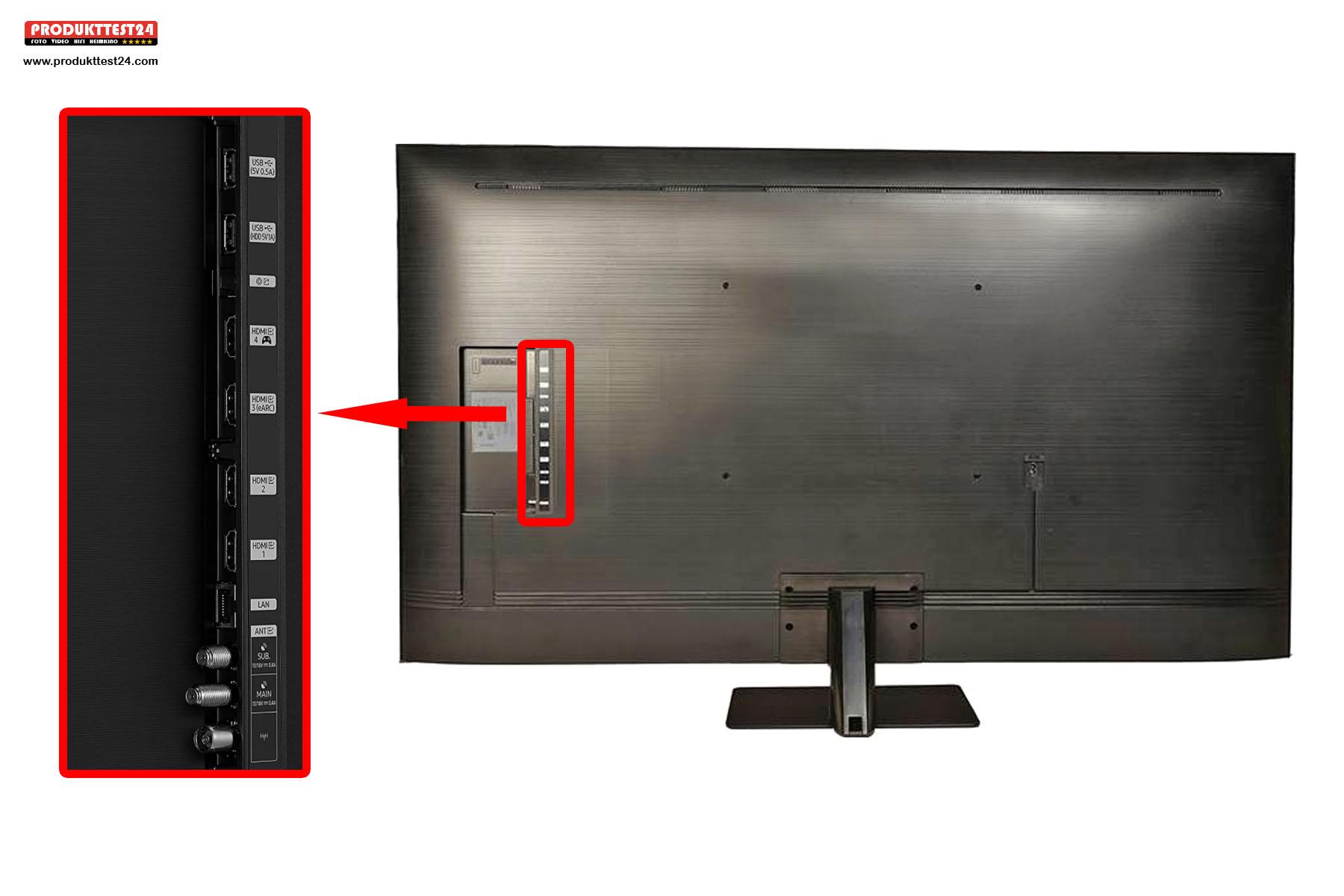 Die Anschlüsse auf der Rückseite des Samsung GQ50Q80A