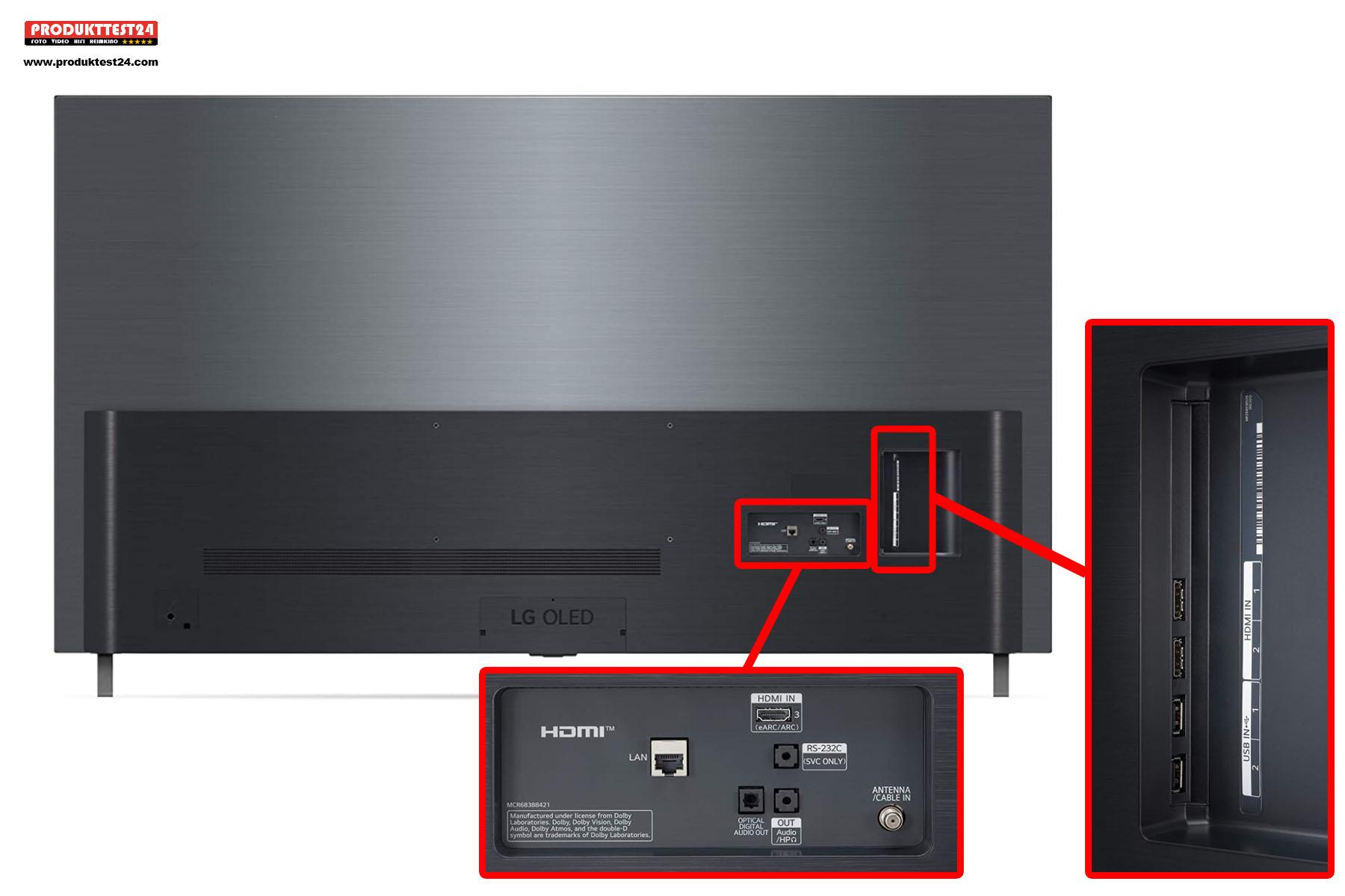 Die Anschlüsse auf der Rückseite des LG OLED55A19LA