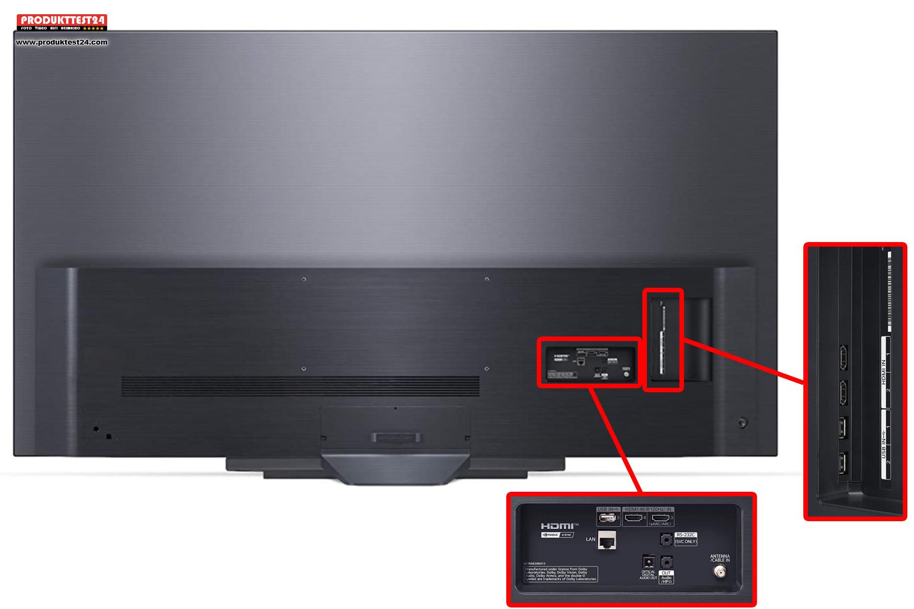 Der LG OLED77B19LA besitzt 2x HDMI 2.1 und 2x HDMI 2.0 Anschlüsse