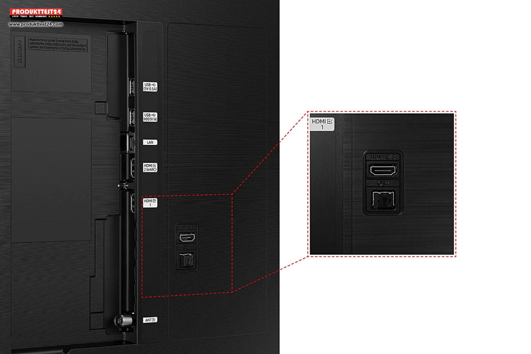 Die meisten Anschlüsse des Samsung GQ85Q60A sind seitlich zugänglich.