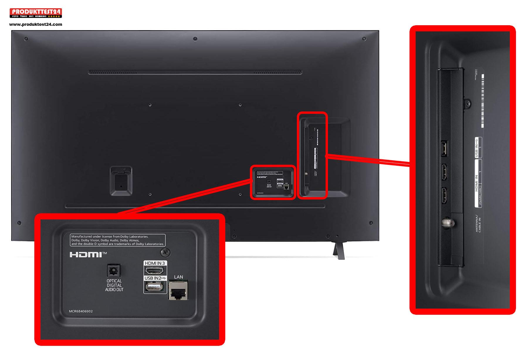 Die Anschlüsse auf der Rückseite des Nano75 Fernsehers