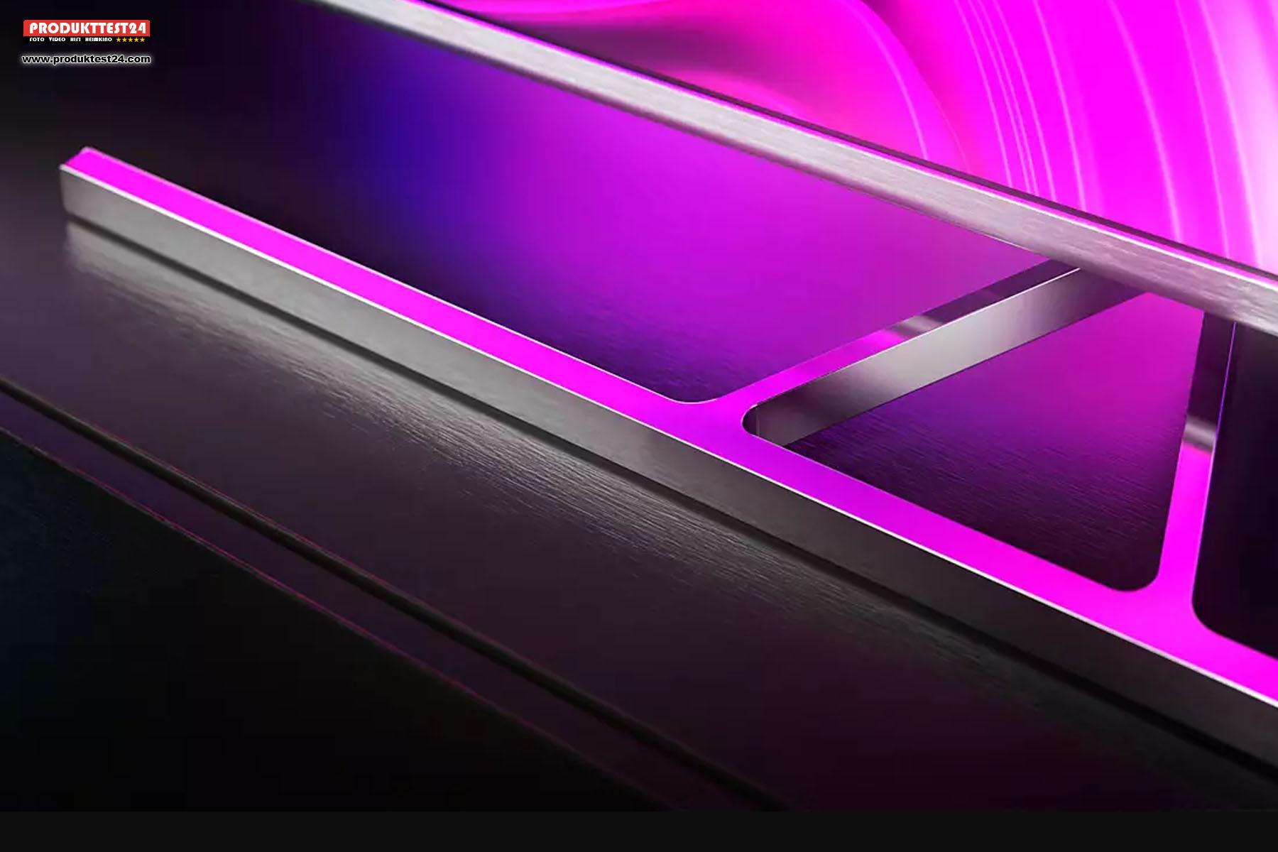Der Standfuß besteht komplett aus Metall und lässt sich in jede Richtung um je 15° drehen.