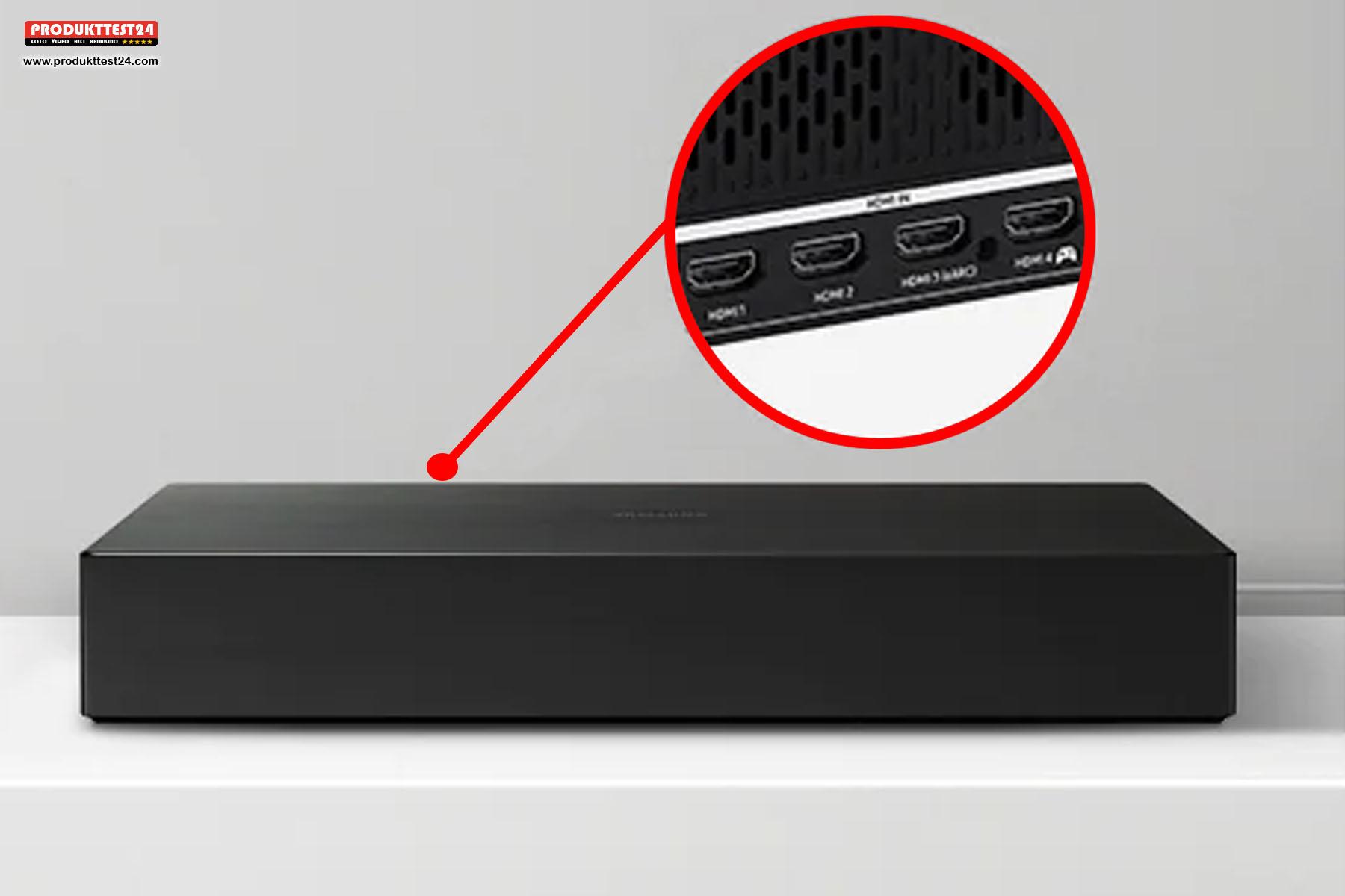 Die Anschlüsse befinden sich nicht am Fernseher, sondern an der externen One-Connect-Box.