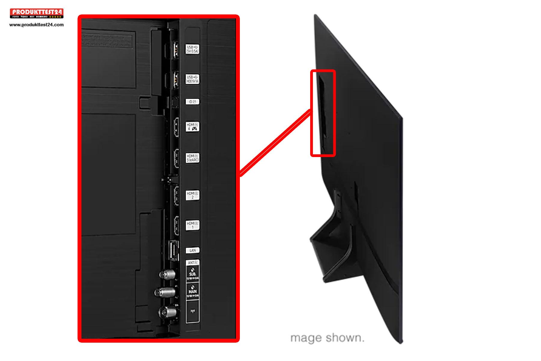 Die Anschlüsse des Samsung GQ55Q70A.