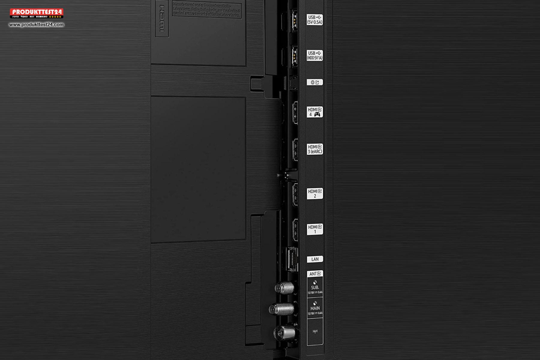 Der Samsung GQ85QN85A verfügt über 4 vollwertige HDMI 2.1 Anschlüsse.